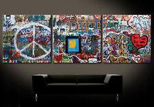 JOHN LENNON WALL Leinwand Bilder Bild Pop Street Art Kunstdruck No Poster