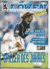Fussball Programm: TSV 1860 MÜNCHEN - 1.FC KAISERSLAUTERN, 14.10.2000,BUNDESLIGA