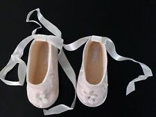 """Sarah Louise Petal and Embroidery Christening Shoe Ivory Satin Size 3 / 4.5"""""""
