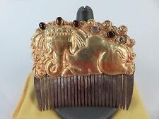 Rare 14th Century Champa 22k Yellow Gold & Silver Gemstone Elephant Hair Comb