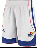 "Kansas Jayhawks 10"" White Replica Basketball Shorts by Adidas"