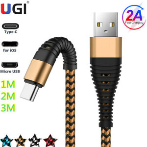 2A Fasting Charger USB Cable 1-3M Braided IOS Micro USB Type-C For iphone Huawei