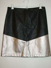 Worth black silver leather pencil straight skirt sissy holiday party-4