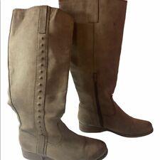 Ladies MIA Knee-High Boots Textured Tall Zip Closure Tan Brown Size 6.5