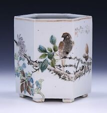 A BIG CHINESE ANTIQUE FAMILLE ROSE BRUSH POT BY CHENG YUTING
