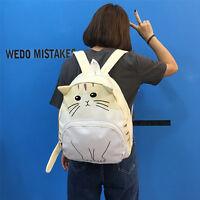 New Women Girls Fashion Cute Kittens Sweet Cats Shape Canvas Backpacks Bookbags