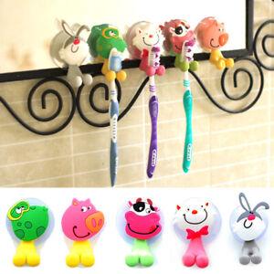 New Cartoon Animal Toothbrush Holder Wall Mounted Sucker Bathroom Suction Cup UK