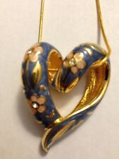 Nolan Miller Blue Floral Heart Pendant Necklace - BEAUTIFUL!