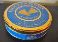 "Vintage  FRENCH GAURETTES Tin Metal Trinket Box Round 7.5""D France"