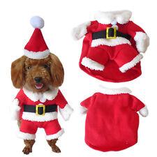 Pet Small Dog Cat Santa Claus Costume Outfit Jumpsuit Clothes For Christmas AU