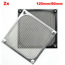 2x PC Fan Cooling Dustproof Dust Filter Case Aluminum Grill Guard 120mm/80mm