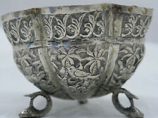 VERY OLD WHITE METAL HAND DECORATED BOWL WITH ANIMALS - L@@K