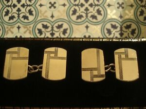 Superb & Fine Antique Art Deco Glittering Engraved 9CT Gold On Silver Cufflinks