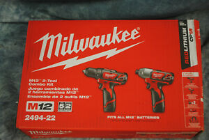 MILWAUKEE 2494-22 M12 2-TOOL COMBO KIT (2XCP1.5 BATTERIES AND CHARGER)
