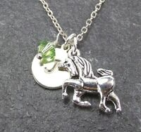 Custom Unicorn Necklace Personalized Initial with Swarovski Birthstone Crystal