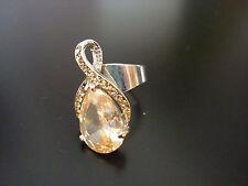 REBAJAS precioso anillo sortija plata rodio piedra cristal swarovski ámbar 17