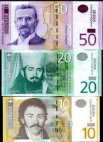 SERBIA SET 3 PCS 10 20 50 DINARA RANDOM DATES P 54 55 56 UNC