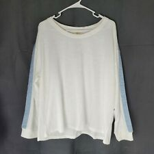 Style Co Striped Sleeve Pullover Sweatshirt Womens Size XL White Color
