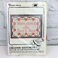 "Vintage Vogart Crafts Creative Stitchery Stamped embroidery kit 2120..Love 5""x7"""