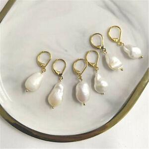 1pcs 10-14mm white baroque pearl earrings 18k hook gorgeous Retro delicate
