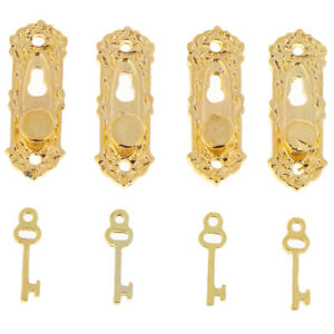 1/12 Doll House Miniature Mini Golden Metal Door Handle with Key Hardwar^BI