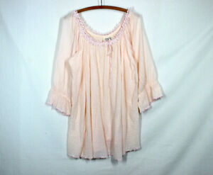 Vtg 90s Victoria's Secret Country Cottons Gauze Nightgown Pink Mini Dress Lace