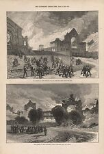 1873 ANTIQUE PRINT- LONDON, BURNING OF ALEXANDRA PALACE, FROM SOUTH WEST & NORTH