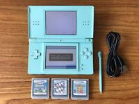 Nintendo DS Lite Turquoise Handheld Console Bundle +3 Games & Charger