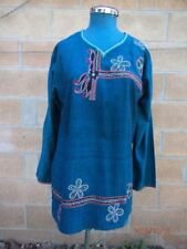 Deep blue Sz 8 embroidered front cotton caftan top, not lined, VGC, long sleeves