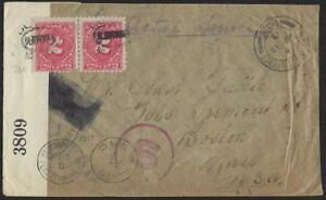 US UK 1917 WWI FIELD POST 183 ON CENSORED POSTAGE DUE COVER W/PAIR Sc J60 TO BOS