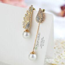 1 Pair Women Elegant Wings Rhinestone Ear Stud Gold Dangle Earrings Jewelry NEW