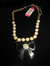 BETSEY JOHNSON FAUX PEARL AND BLACK BOW NECKLACE