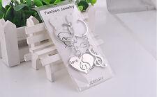 1 pair Fashion Love Heart Keyring Couple Keychain Key Ring Lover Keyfob Gift New