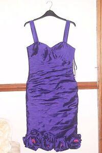 Veni Infantino Ronald Joyce Purple Roses  Party Dress Cocktail Prom Races UK 8