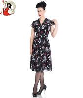 HELL BUNNY BELLEVILLE CHIFFON DRESS floral 40s style tea BLACK