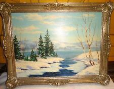 George Fletcher Oil on Canvas Winter Landscape Canada Canadian Listed Artist