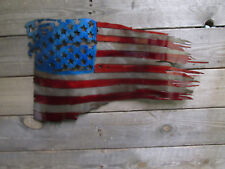 Stained and Coated Metal American Battle Torn Flag 17""