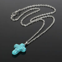 """Women's 925 Sterling Silver Stone Crystal Cross Pendant 18"""" Link Chain Necklace"""