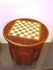 Chess Board Round Table Carved Inlaid Work Coffee Table Foldable Art HomeDecor