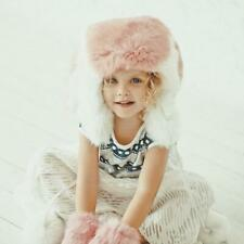 Toddler Winter Fur Hat Baby Bunny Ear Hat Pink Little Girls Hats (Pink/White)