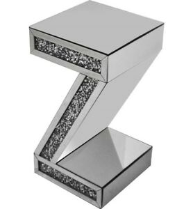 Elegant Z Diamond Crystal Side Display Stand End Table Furniture Home/Office