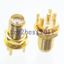 100pcs Connector SMA jack pin bulkhead solder PCB clip edge mount