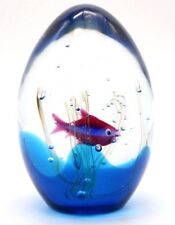 Attractive MURANO Striped Fish AQUARIUM Art Glass Paperweight by ELIO RAFFAELI