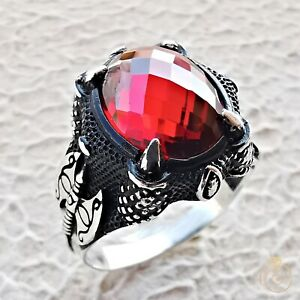 Silver Viking Ring Vintage Nordic Jewelry Norse Scandinavian Medieval Ruby Stone
