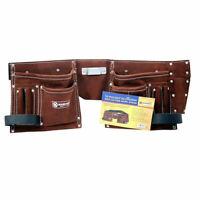 10 Pocket Leather Builders Suede Apron Work Bag Belt Tool Pouch Holder Pocket