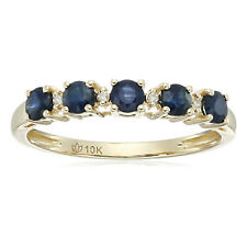 Pinctore 10k Yellow Gold Blue Sapphire and Diamond Accented Stackable Ring, Size