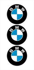 """3 BMW LOGO HELMET STICKER HARD HAT STICKER MOTORCYCLE TOOLBOX 2"""" ROUND"""