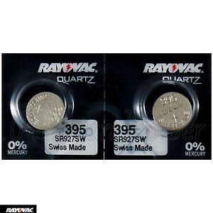 2 X Rayovac 395 Batterien Silberoxid 1.55V 399 SR927SW SR57 Uhren Swiss
