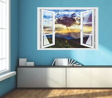 Wandtattoo Fenster 3D Optik Wandsticker Aufkleber Deko Bild - Sonnenuntergang