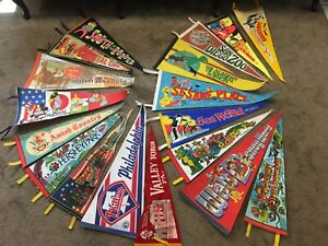 Vintage Travel Pennant Lot Amusement Parks Florida California New Jersey PA